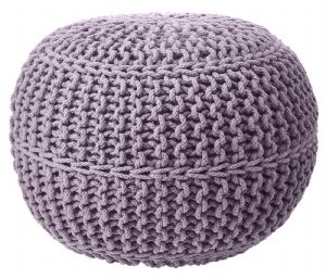 100% COTTON ROUND FOOT STOOL BRAIDED HANDMADE CUSHION DOUBLE KNITTED POUFFE GREY COLOUR